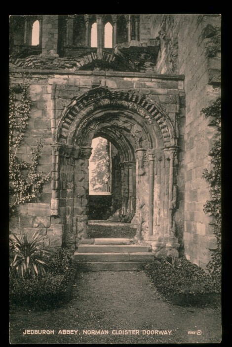 Jedburgh Abbey, Norman Doorway, 1878. J. Valentine & Co.Medium: Sepiatype (Vandyke Print). St Andrews copy at JV-366