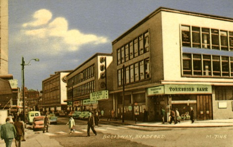 Broadway, Bradford, 1964. J. Valentine & CoMedium: Collocolour (Collotype). St Andrews copy at JV-M-7148