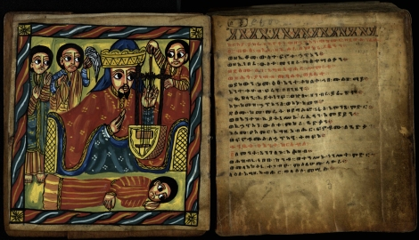 Illustration of King David with harp from an 18th century Ethiopian psalter (ms38900).