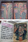 A modern religious icon (above) and modern manuscript (below) from Ethiopia. Photographs by Maia Sheridan, January 2013.