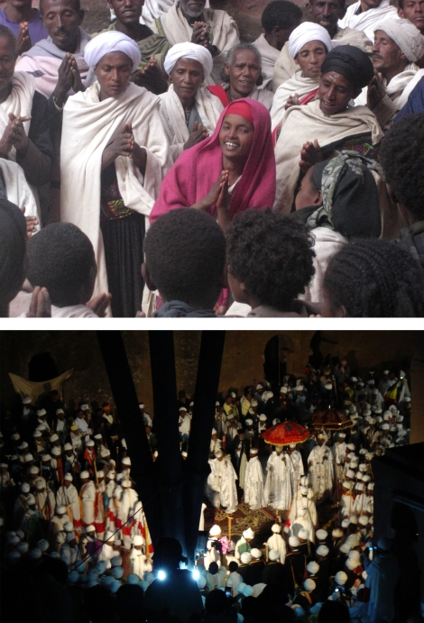 Pilgrims giving thanks for their safe arrival in Lalibela (above); Priests celebrating Christmas mass (below). Photographs by Maia Sheridan, January 2013.