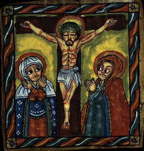 An illustration of the Crucifixion with Mary and probably Mary Magdalene from an 18th century Ethiopian psalter (St Andrews ms38900)