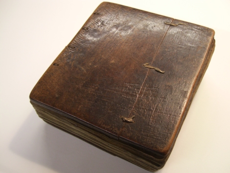 Wooden front cover of an 18th century Ethiopian psalter (St Andrews ms38900)