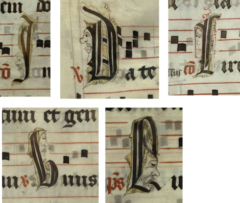 Pen decorated initials 'I', 'D', 'C', 'V' and 'L' all with faces and one with a fish! (left to right, top and bottom: p. 75, p. 204, p. 280, p. 162 and p. 132) from a 15th century Gradual (St Andrews msM2148.G7)