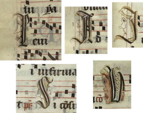 Pen decorated initials 'I', 'A', 'I', 'S' and 'V' with faces and animals (left to right, top and bottom: p. 386, p. 146, p. 445, p. 271 and p. 345) from a 15th century Gradual (St Andrews msM2148.G7)