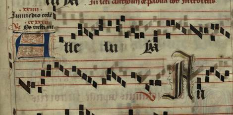 Pen decorated initial 'A' and an initial 'A' with face from a 15th century Gradual (St Andrews msM2148.G7)