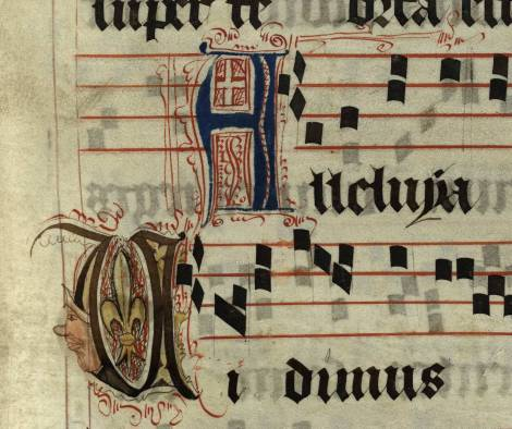 Pen decorated initial 'A' and initial 'V' with face and fleur-de-lys from p. 95 of a 15th century Gradual (St Andrews msM2148.G7)