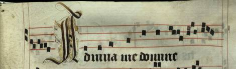 Pen decorated initial 'A' with face from p. 83 of a 15th century Gradual (St Andrews msM2148.G7)