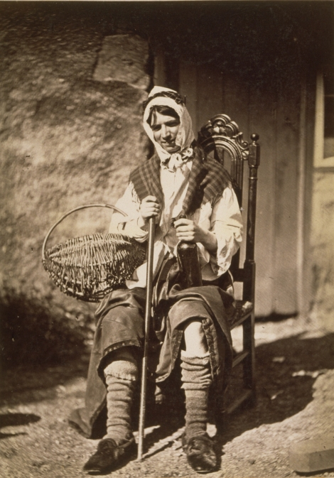 Man (possibly John Rodger, brother of photographer) posed as a fisherwoman, by Thomas Rodger, 1860. (St Andrews ALB-10-28)