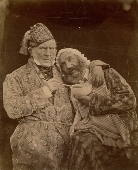 """The Sick Baby,"" a humorous portrait of Sir Hugh Lyon Playfair (left) and Professor William Macdonald, 1855. (St Andrews ALB-6-131-1)"