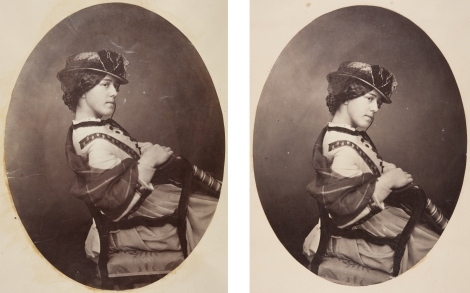 An 1860's photograph of an unidentified woman, framed differently in two different albums, by Dr John Adamson, circa 1865. (St Andrews ALB-8-32 (left) and ALB-13-15)