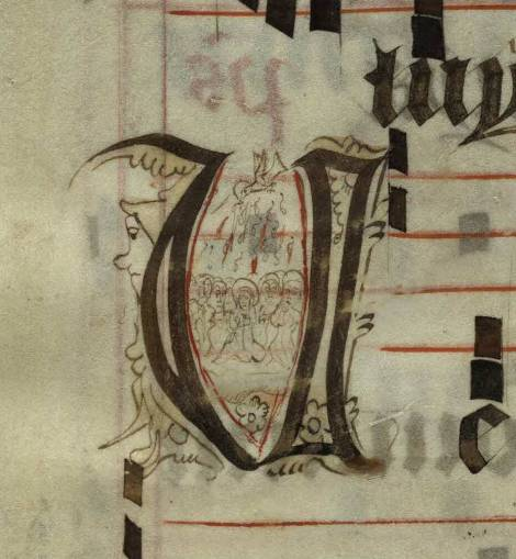 Pen decorated initial 'V' with 11 apostles receiving the Holy Spirit from p. 254 of a 15th century Gradual (St Andrews msM2148.G7)
