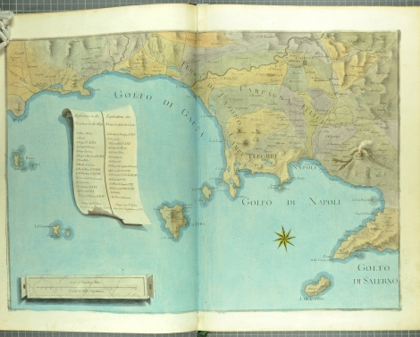 Map of the coast of Naples and surrounding area, defined as the 'Campi Phlegraei,' or fields of flame. From William Hamilton's Campi Phlegraei (St Andrews rff QE523.V5H3 (SR))