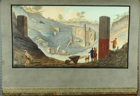 """View of the first discovery of the Temple of Isis at Pompeii."" From William Hamilton's Campi Phlegraei (St Andrews rff QE523.V5H3 (SR))"