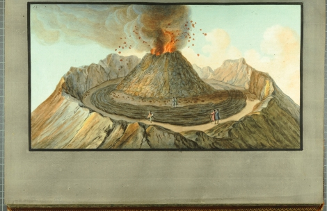 """Interior view of the crater of Mount Vesuvius, as it was before the great eruption of 1767."" From William Hamilton's Campi Phlegraei (St Andrews rff QE523.V5H3 (SR))"