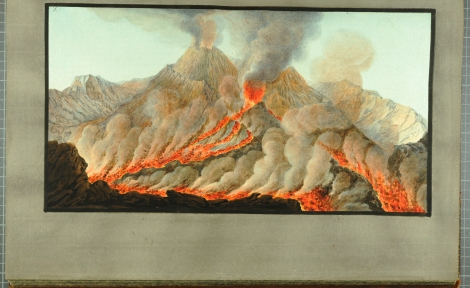 """Interior view of the crater of Mount Vesuvius from an original drawing taken on the spot in the year 1756."" From William Hamilton's Campi Phlegraei (St Andrews rff QE523.V5H3 (SR))"