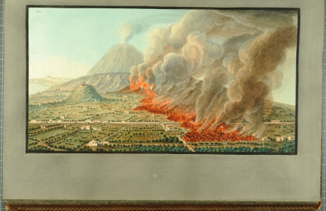 """View of an eruption of Mount Vesuvius which began the 23rd of December 1760, and ended the 5th of January 1761, after a drawing taken on the spot by Mr Fabris, when that eruption was in full force."" From William Hamilton's Campi Phlegraei (St Andrews rff QE523.V5H3 (SR))"