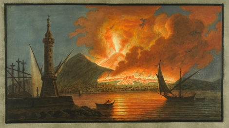 """View of the great eruption of Vesuvius from the mole of Naple in the night of the 20th of October 1767."" From William Hamilton's Campi Phlegraei (St Andrews rff QE523.V5H3 (SR))"