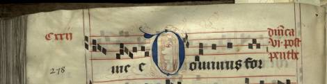 Pen decorated initial 'D' with face from p. 278 of a 15th century Gradual (St Andrews msM2148.G7)