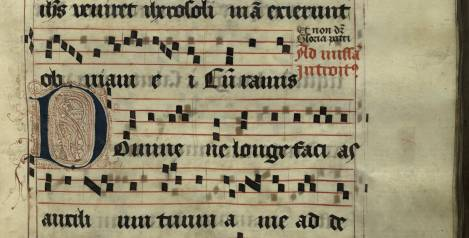 Pen decorated initial 'D' from p. 169 of a 15th century Gradual (St Andrews msM2148.G7)