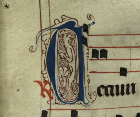Pen decorated initial 'D' with dog from p. 73 of a 15th century Gradual (St Andrews msM2148.G7)