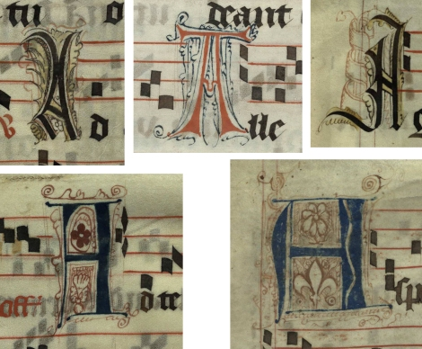 Five pen decorated initial A's (left to right, top: p. 309, 292, 11; bottom: p. 59, p. 53) from a 15h century Gradual (St Andrews msM2148.G7)