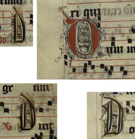 Pen decorated initial 'D's (left to right, top and bottom: p. 65, p. 90, p. 73 and p. 107) from a 15th century Gradual (St Andrews msM2148.G7)