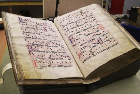 A 15th century Gradual, probably produced in the south of France. This is the University's second heaviest manuscript and it measures over half a metre tall! (St Andrews msM2148.G7)