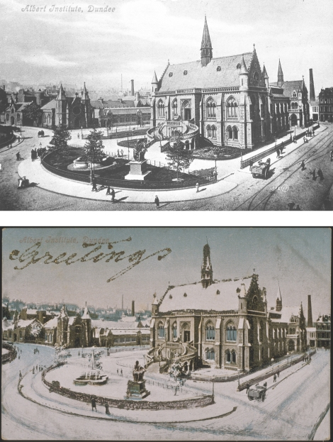 """Albert Institute, Dundee"" by J. Valentine & Co., 1880 (above, St Andrews JV-499X) and ""Albert Institute, Dundee"" by J. Valentine & Co., 1892 (below, St Andrews JV-17199)"