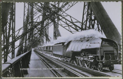 """Express crossing Forth Bridge"" by J. Valentine & Co., 1908 (St Andrews JV-60283)"