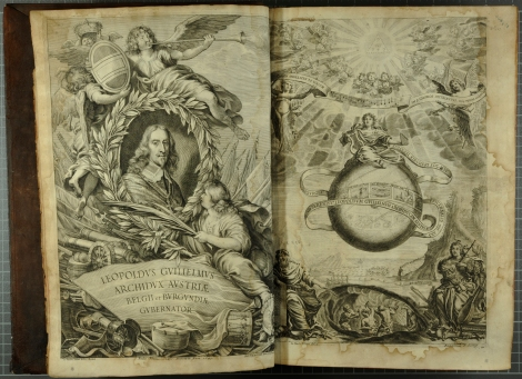 An engraved portrait of Archduke Leopold Wilhelm of Austria (left, to whom the work is dedicated to) and the added engraved title page depicting seated Musica holding a lyre and panpipes and with Pythagoras pointing to blacksmiths