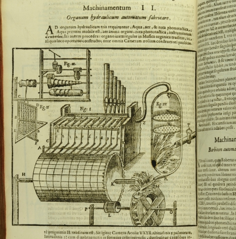 A diagram of one of Kircher's inventions: a hydraulic organ, from his Musurgia Universalis (St Andrews copy r17f ML3805.K5M8)