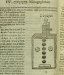 "A description and depiction of a Hebrew ""minagnghinim"" from Kircher's Musurgia Universalis."