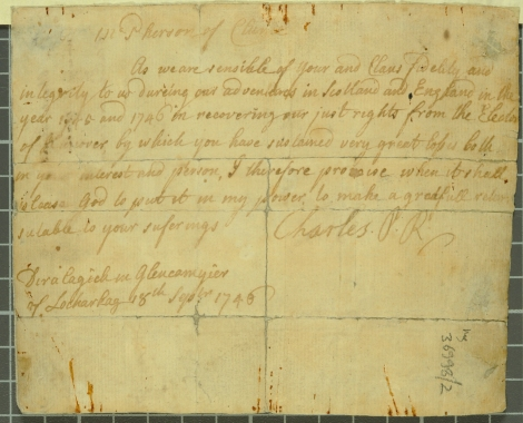 Forged note from Charles Edward Stuart, the Young Pretender, to Euan McPherson of Clunie, 18 September 1746 (St Andrews ms36998/2)