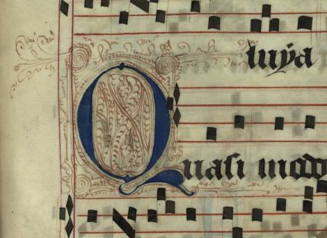 Pen decorated initial 'Q' from p. 225 of a 15th century Gradual (St Andrews msM2148.G7)