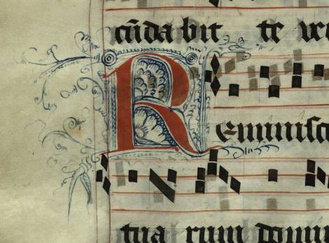 Pen decorated initial 'R' from p. 140 of a 15th century Gradual (St Andrews msM2148.G7)