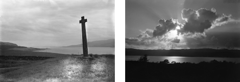 """Celtic cross, Fiunary, Morvern"" by Robert Moyes Adam, 1919 (left, St Andrews RMA-H-750) and ""Sunset over hills, Inveraray"" by Robert Moyes Adam, 1915 (right, St Andrews RMA-H-469)"