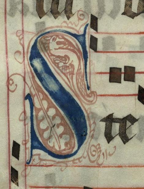 Pen decorated initial 'S' with serpent from p. 400 of a 15th century Gradual (St Andrews msM2148.G7)