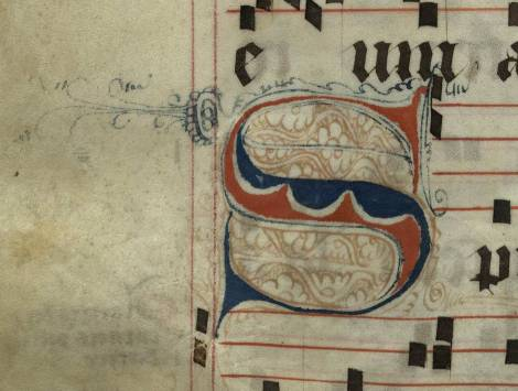 Pen decorated initial 'S' from p. 252 of a 15th century Gradual (St Andrews msM2148.G7)