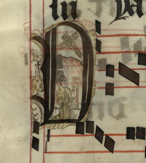 Pen decorated initial 'O' with St Francis and winged Christ from p. 402 of a 15th century Gradual (St Andrews msM2148.G7)
