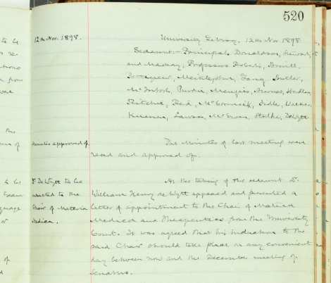 Minute of the Senatus Academicus recording appointment of de Wytt as a professor, 1898 (St Andrews UYUY452/17/520)
