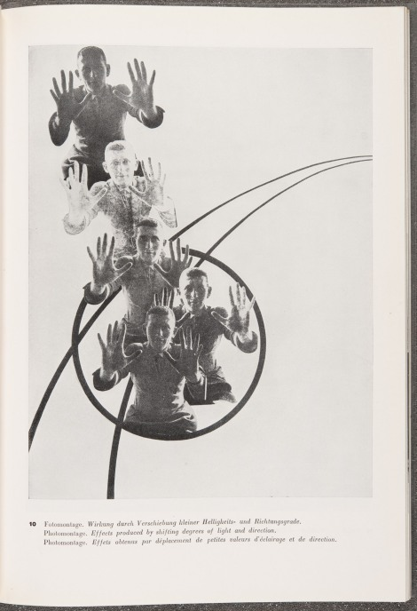 """Plate 10, Photomontage, Effects produced by shifting degrees of light and direction,"" from L. Moholy Nagy's 60 fotos (1930). St Andrews copy at Photo TR653.M64"