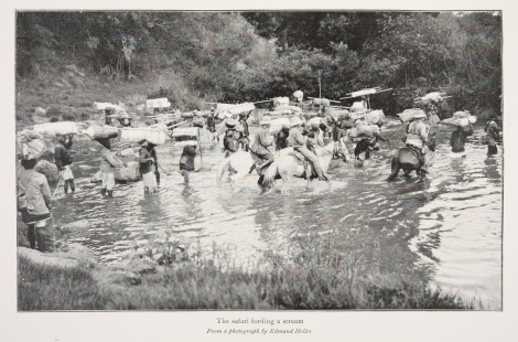 """The safari fording a stream,"" by Edmund Heller, page 160 from Theodore Roosevelt's African game trails (1910). St Andrews copy at Photo SK252.R7A4"