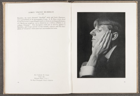 """Aubrey Vincent Beardsley,"" by Frederick Evans, ca. 1895, page 82-83 of Immortal portraits (1941). St Andrews copy at Photo TR15.S8I4"