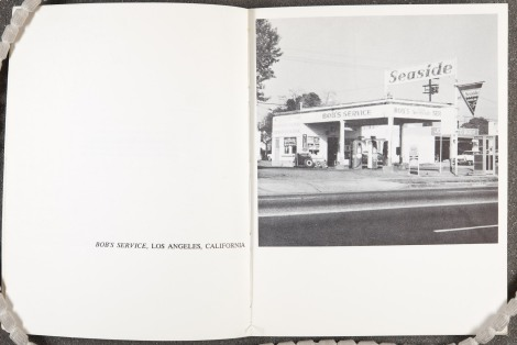 """Bob's Service, Los Angeles, California,"" from Edward Ruscha's Twentysix gasoline stations (1967) St Andrews copy at Photo TR654.R87 1962"