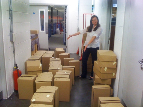 Kirsty helping with the move of the University's Archive in March 2011.