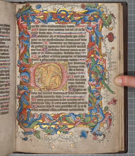 "Leaf 84r of the ""St Andrews Psalter"" (St Andrews msBX2033.A00), depicting a griffin within an illuminated initial 'D'"