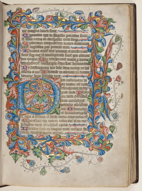 "An illuminated initial 'D' from the ""St Andrews Psalter"" (St Andrews msBX2033.A00)"