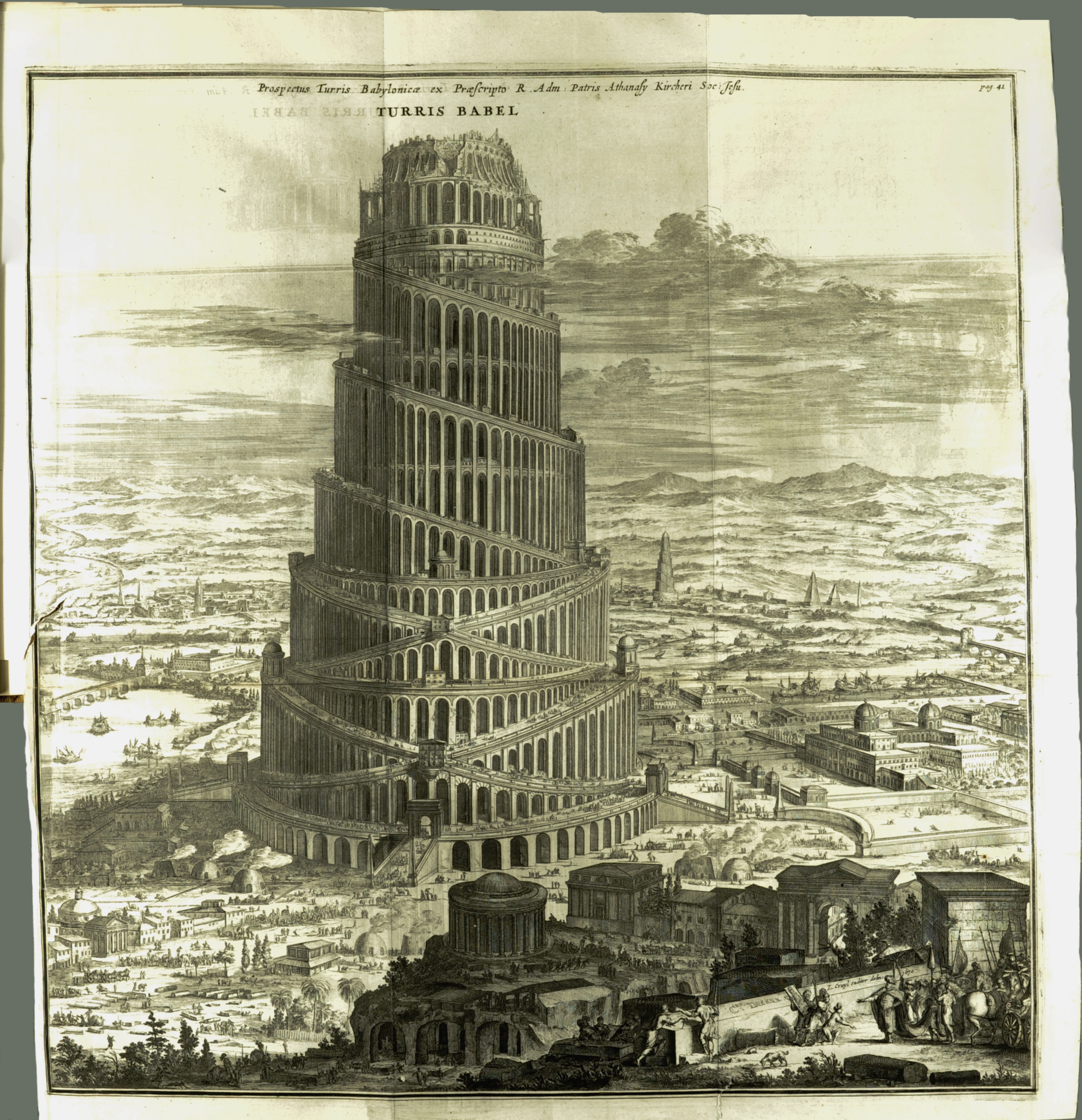 The large, fold-out plate of Kircher's vision of the Tower of Babel.