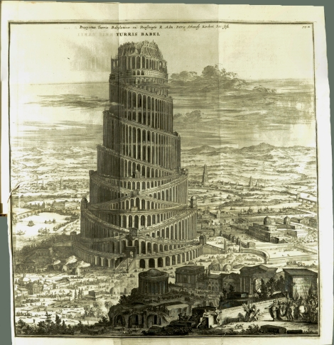 The large, fold-out plate of Kircher's vision of the Tower of Babel. From his Turris Babel, 1679 (St Andrews copy r17 BS1238.B2K5)